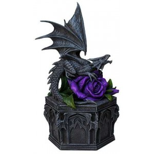 Dragon Beauty Purple Rose Trinket Box Majestic Dragonfly Home Decor, Artwork, Unique Decorations
