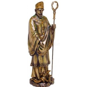 Saint Patrick Bronze Christian Statue Majestic Dragonfly Home Decor, Artwork, Unique Decorations