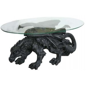 Shire Dragon Glass Topped Coffee Table Majestic Dragonfly Home Decor, Artwork, Unique Decorations