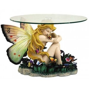 Field of Dreams Fairy Glass Topped Accent Table Majestic Dragonfly Home Decor, Artwork, Unique Decorations