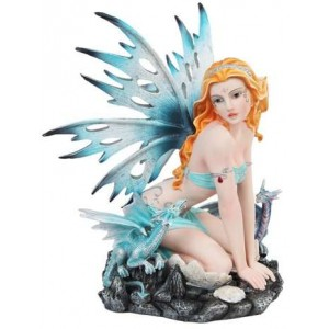 Blue Fairy with Dragonlings Statue Majestic Dragonfly Home Decor, Artwork, Unique Decorations