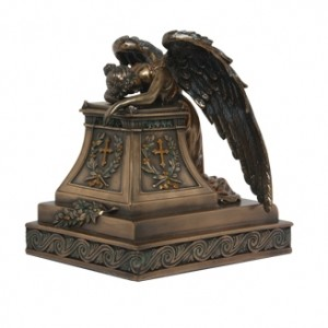 Mourning Angel Bronze Keepsake Memorial Urn Majestic Dragonfly Home Decor, Artwork, Unique Decorations