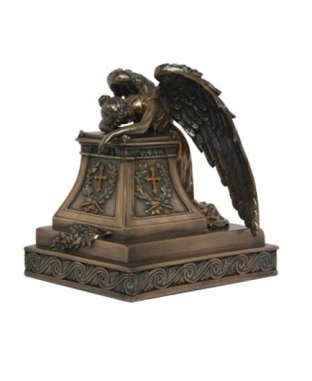 Mourning Angel Bronze Keepsake Memorial Urn at Majestic Dragonfly, Home Decor, Artwork, Unique Decorations
