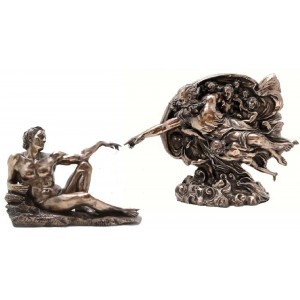 Creation of Man by Michelangelo Museum Replica Statue Set Majestic Dragonfly Home Decor, Artwork, Unique Decorations