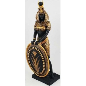 Isis Egyptian Goddess with Shield Statue -11 Inches Majestic Dragonfly Home Decor, Artwork, Unique Decorations
