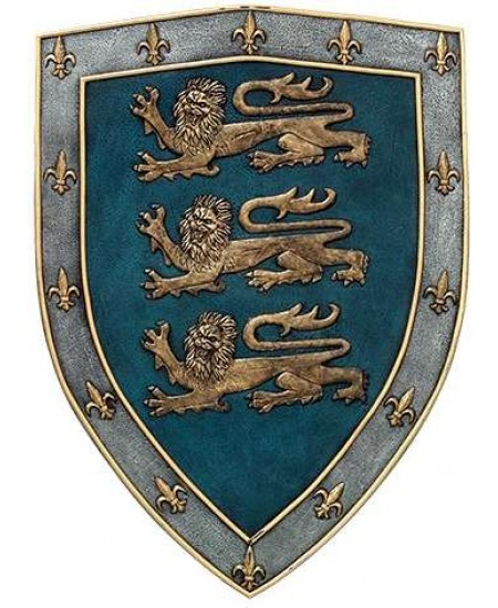 3 Lions Medievel Knights Shield Plaque at Majestic Dragonfly, Home Decor, Artwork, Unique Decorations