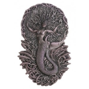 Mermaid Aine Plaque in Gray Majestic Dragonfly Home Decor, Artwork, Unique Decorations