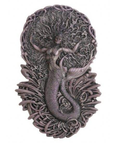 Mermaid Aine Plaque in Gray at Majestic Dragonfly, Home Decor, Artwork, Unique Decorations
