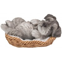 Schnauzer Sleeping in Basket Puppy Statue
