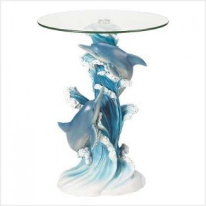 Playful Dolphins Glass Top Accent Table Majestic Dragonfly Home Decor, Artwork, Unique Decorations
