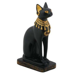 Bastet Black Cat with Lotus Collar Statue Majestic Dragonfly Home Decor, Artwork, Unique Decorations