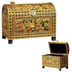 King Tut Hunting Scene Chest Majestic Dragonfly Home Decor, Artwork, Unique Decorations