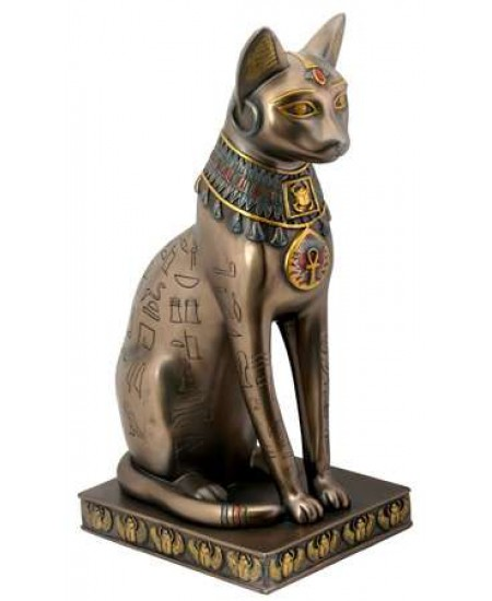 Bastet Bronze Hieroglyphic Cat Statue at Majestic Dragonfly, Home Decor, Artwork, Unique Decorations