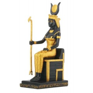 Isis Egyptian Goddess Sitting on Throne Statue Majestic Dragonfly Home Decor, Artwork, Unique Decorations
