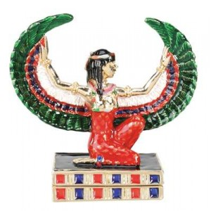 Maat Egyptian Goddess Gold Plated Jeweled Box Majestic Dragonfly Home Decor, Artwork, Unique Decorations