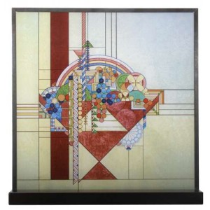Frank Lloyd Wright May Basket Art Glass Panel