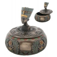 Nefertiti Egyptian Round Trinket Box