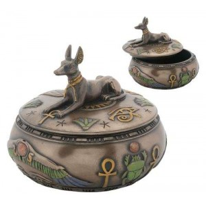 Anubis Egyptian Jackal Round Trinket Box Majestic Dragonfly Home Decor, Artwork, Unique Decorations