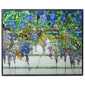 Tiffany Wisteria Art Glass Window Reproduction Majestic Dragonfly Home Decor, Artwork, Unique Decorations