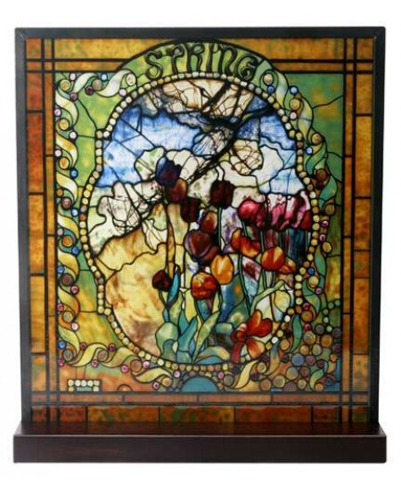 Tiffany Spring Art Stained Glass Window Reproduction at Majestic Dragonfly, Home Decor, Artwork, Unique Decorations
