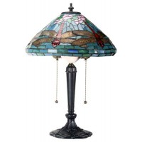 Dragonfly Tiffany Reproduction Art Glass Lamp