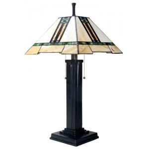 Mission Style Art Glass Column Table Lamp
