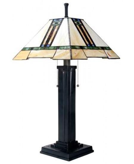 Mission Style Art Glass Column Table Lamp at Majestic Dragonfly, Home Decor, Artwork, Unique Decorations