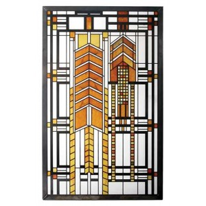 Autumn Sumac Frank Lloyd Wright Stained Glass Art Majestic Dragonfly Home Decor, Artwork, Unique Decorations