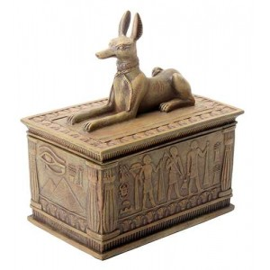 Anubis Sandstone Color Resin 5 Inch Box Majestic Dragonfly Home Decor, Artwork, Unique Decorations