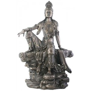 Kuan-Yin Water and Moon Goddess Statue Majestic Dragonfly Home Decor, Artwork, Unique Decorations
