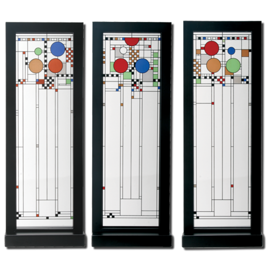 Frank Lloyd Wright Ley School Stained Gl Triptych Panels At Majestic Dragonfly Home Decor