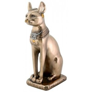 Bastet Bronze Cat Statue Majestic Dragonfly Home Decor, Artwork, Unique Decorations