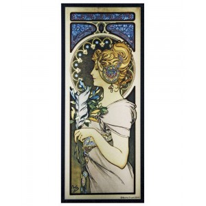 Feather Alphonse Mucha Stained Glass Art Panel Majestic Dragonfly Home Decor, Artwork, Unique Decorations