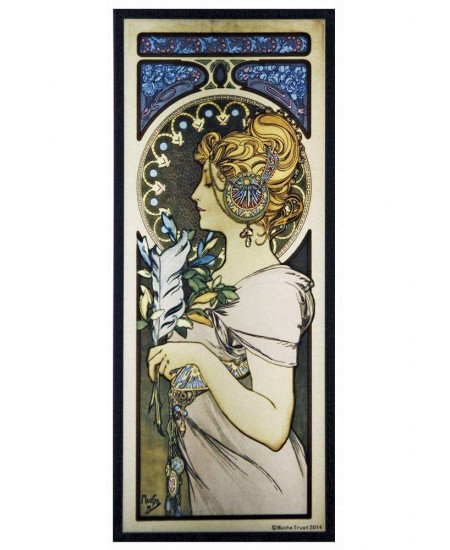 Feather Alphonse Mucha Stained Glass Art Panel at Majestic Dragonfly, Home Decor, Artwork, Unique Decorations