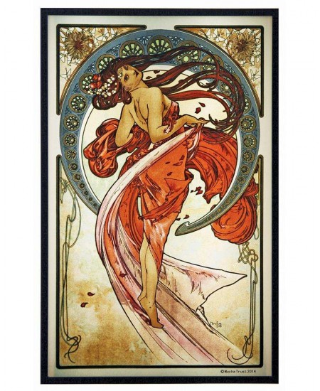 Arts Dance Alphonse Mucha Stained Glass Art Panel at Majestic Dragonfly, Home Decor, Artwork, Unique Decorations