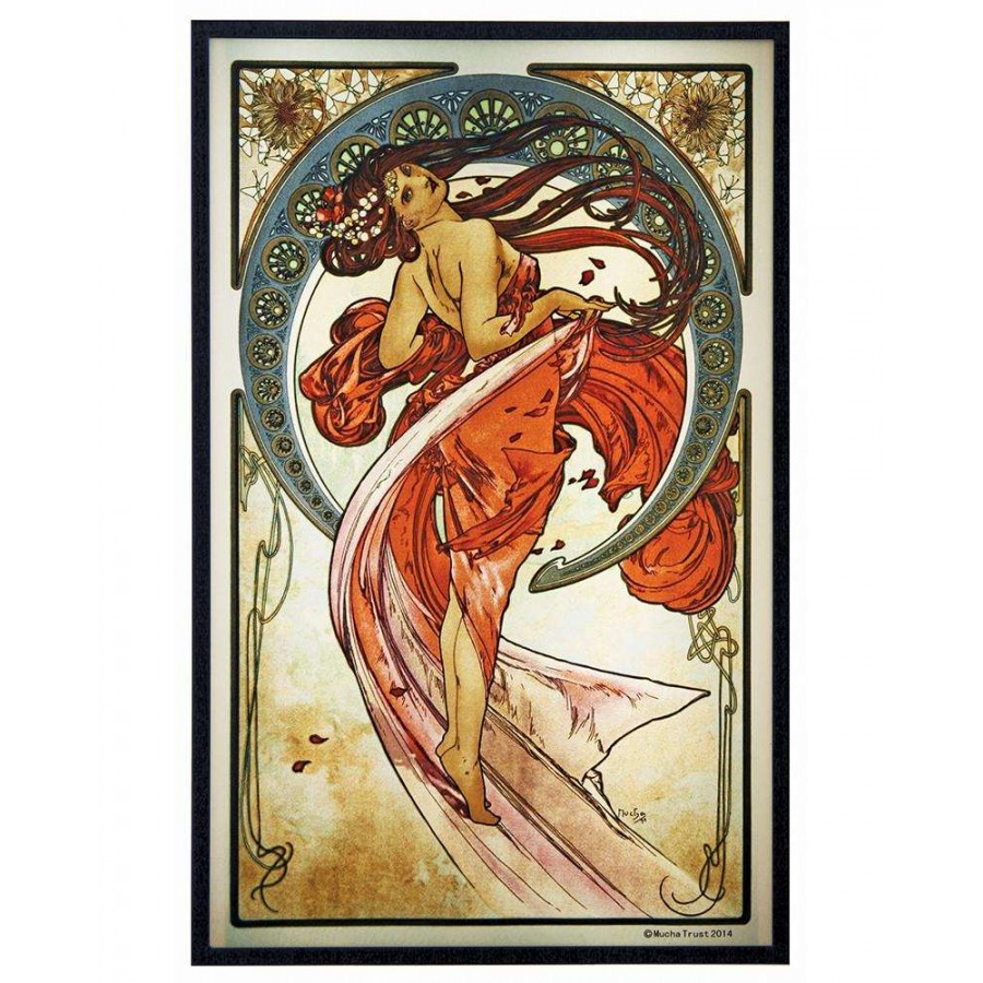 arts dancealphonse mucha color art glass panel - 12 inches