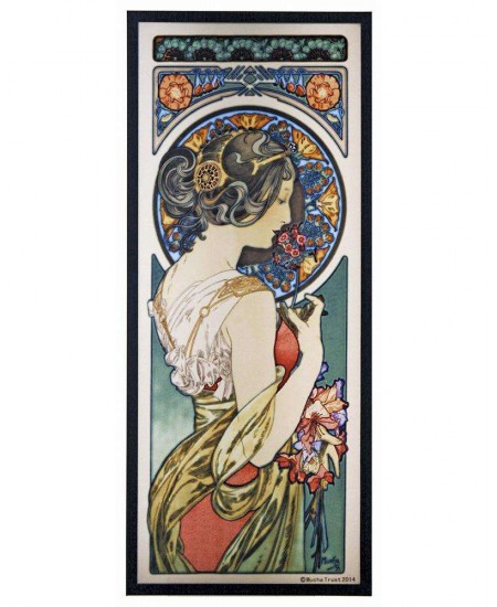 Primrose Alphonse Mucha Stained Glass Art Panel at Majestic Dragonfly, Home Decor, Artwork, Unique Decorations