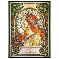 Zodiac Alphonse Mucha Stained Glass Art Panel