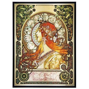 Zodiac Alphonse Mucha Stained Glass Art Panel Majestic Dragonfly Home Decor, Artwork, Unique Decorations