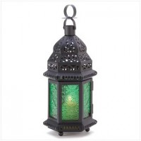 Green Glass Moroccan Candle Lantern