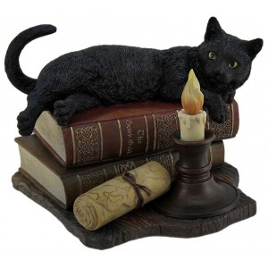 Witching Hour Black Cat Statue Majestic Dragonfly Home Decor, Artwork, Unique Decorations