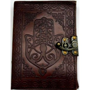 Hamsa Embossed Leather Journal with Latch Majestic Dragonfly Home Decor, Artwork, Unique Decorations