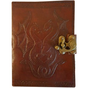 Double Dragon Leather Journal with Latch Majestic Dragonfly Home Decor, Artwork, Unique Decorations