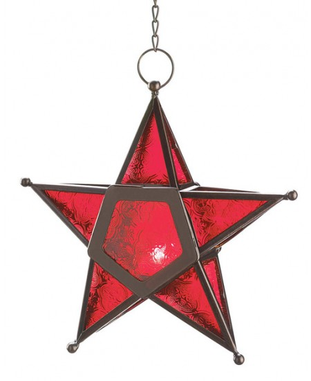 Star Hanging Lantern - Red at Majestic Dragonfly, Home Decor, Artwork, Unique Decorations