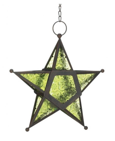 Star Hanging Lantern - Green at Majestic Dragonfly, Home Decor, Artwork, Unique Decorations
