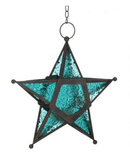 Star Hanging Lantern - Blue at Majestic Dragonfly, Home Decor, Artwork, Unique Decorations